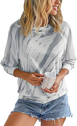 Damen Rundhals lässige Langarmshirt Pullover mit Farbstoff binden Bunte T-Shirt PulliBluse Oberteile DHD016-GEXL
