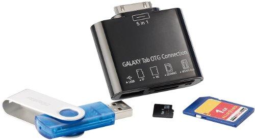 Callstel 5in1-Speicheradapter für Galaxy Tab (30Pin): USB, SD, microSD, MS, M2