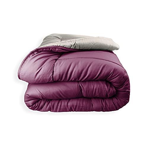 Acomoda Textil - Edredón Nórdico Reversible. Relleno Nórdico Microfibra 250 gr/m². Edredón Bicolor Cálido y Ligero de Invierno. (Vino/Tierra, 180x260)
