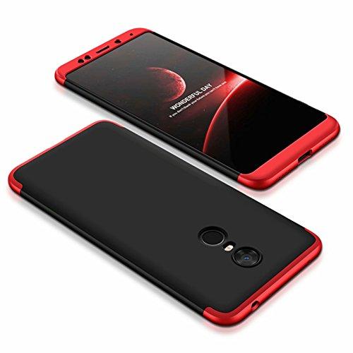 DESCHE compatibles con funda Xiaomi Redmi 5 Plus Rojo Negro, PC duro Cubierta protectora Ultrafino Anti-rasguños Parachoque Mate Phone Case - Rojo Negro