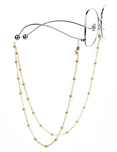 Mini Tree Brillenketten für Lesebrillen Perlen Brillenband Damen Lesebrille Brille Kette Sonnebrillen Band Cords Hals Cord Strap (Gold)