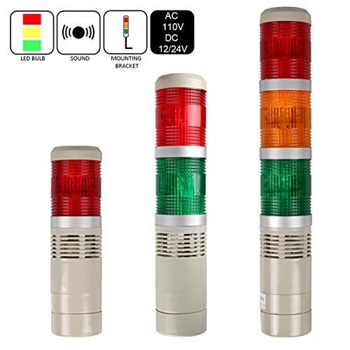 LUBAN Industrial Signal Light Tower, Column LED Alarm Tower Lamp Light Flash Indicator, 3-Layer Stack LED Warning Light with Buzzer for Safety (DC 12V/Sound/Steady ON Light)