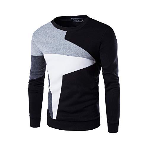 Rundhalsausschnitt Sweatshirt für Männer - Männer Langarm O Hals Bluse Patchwork Design Pollover Shirt Top Beiläufige dünne Lange Hülsen-T-Shirt Patchwork-Spitzenbluse der Männer