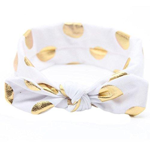 Baby Girls Gold Dots Bronzing Headband Cotton Turban Knotted Hair Bow Hairband JA60 (1# White)