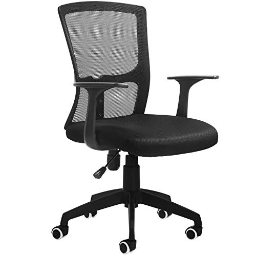 BLUERA Ergonomic Desk Chair Mid-Back Office Chair Mesh Computer Chair Swivel Chair Task Chair with Back Lumbar Support- Multiple Colors -Black
