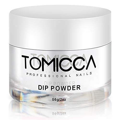 TOMICCA Clear Acrylic Nail Dipping Powder for French Nail Art Natural Clear Color Dip Powder Fast Dry No UV Lamp Needed,Long Lasting 2oz/56g