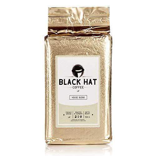 BLACK HAT COFFEE House Blend – Premium Filter-Kaffee aus Robusta- und Arabica-Bohnen – 500 g Röst-Kaffee gemahlen