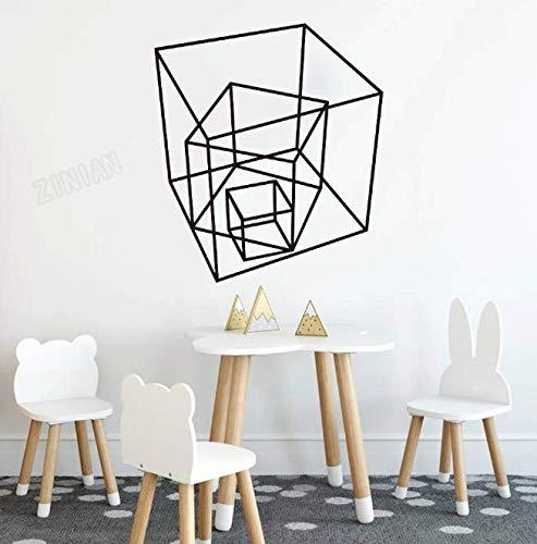 Pegatinas de pared de cubo geométrico para decoración de aula de guardería, calcomanías de vinilo para pared para sala de estar, pegatina artística en la nevera 64 * 57Cm
