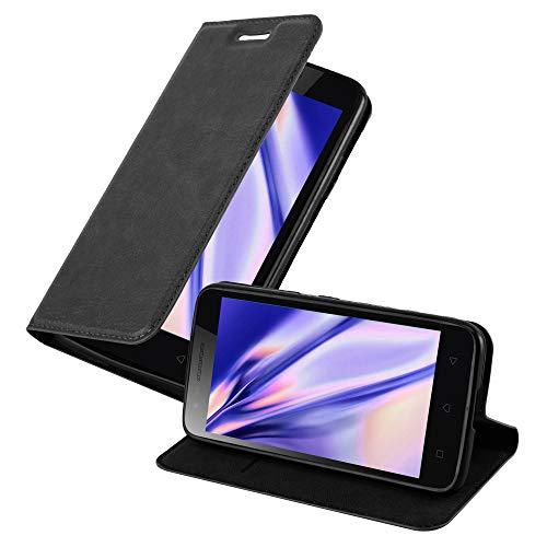 Cadorabo Hülle für Lenovo C2 in Nacht SCHWARZ - Handyhülle mit Magnetverschluss, Standfunktion & Kartenfach - Hülle Cover Schutzhülle Etui Tasche Book Klapp Style