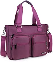 Crest Design Nylon Laptop Shoulder Bag Travel Work Clinic Nursing Tote (Mulberry)