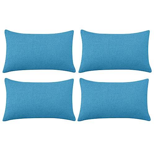 Deconovo Funda de cojin para Salón 4 Piezas 30x50cm Azul Cielo