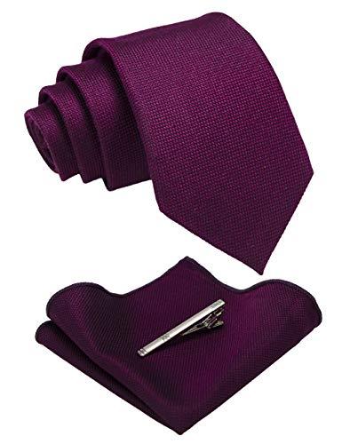 JEMYGINS Krawatte Herren Klassische Baumwoll Karierte Mehrfarbige lila Inklusive Einstecktuch Krawattenklammer Set
