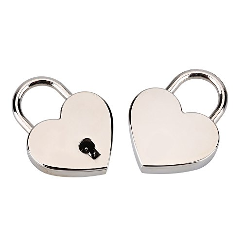 Cadenas de Forme de Coeur Serrure Plate dAmour de Coeur avec la Clé pour le Cadeau de Valentine Journal Valise Bagage