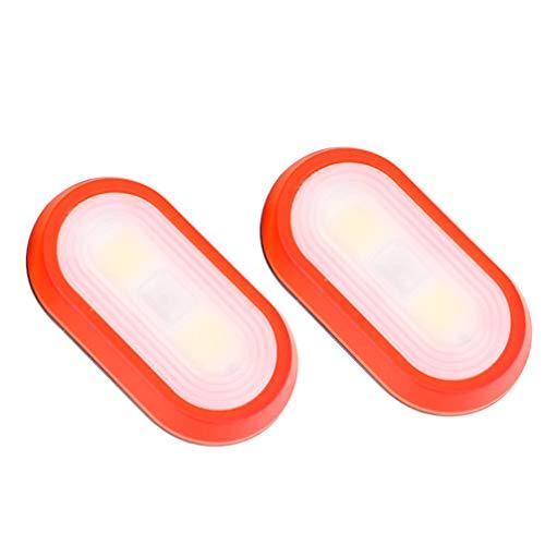 FAVOMOTO 2 unidades de linterna LED con clip a la luz de correr, recargable con USB, para camping, senderismo, correr, aventura al aire libre, color rojo
