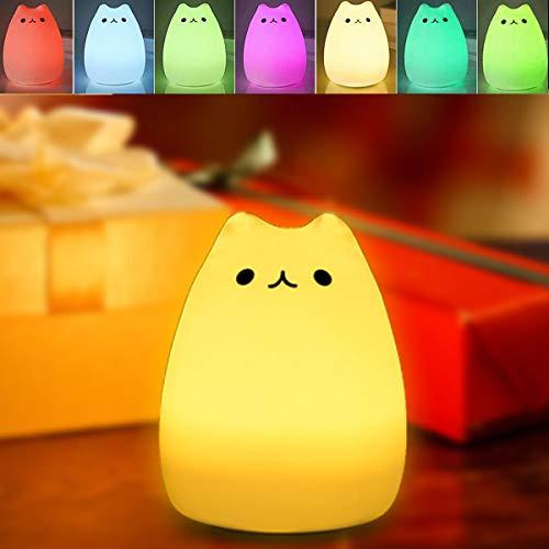 Nachtlicht baby, B-right Led Silikon Katze Licht, 7 Farbe Nacht Beleuchtung, Nachtlampe, Touchlampe, schlummerleuchten mit USB Kabel, Kinderlicht als Weihnachten Geschenk perfekt für kinder, Mädchen