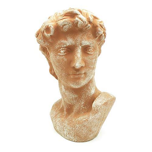 ExtraHome Dekofigur Skulptur Gartenskulptur Davidkopf Büste Kopf Terracottafarben Zierfigur 35 cm