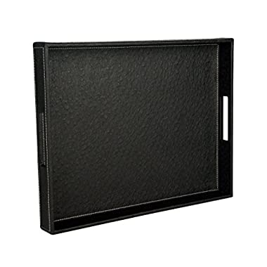 Ostrich PU Leather Rectangular Decorative Serving Tray, Black, 17.7 x 13.8 x 2 inches