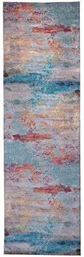Mylife Rugs Contemporary Modern Non Slip Machine Washable Printed Area Rug, Rainbow 2