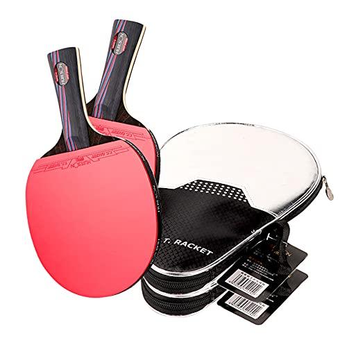 LINGOSHUN Juego de Raquetas de Ping Pong para Entrenamiento Deportivo,Goma Aprobada por la ITTF,Raquetas de Tenis de Mesa de Carbono / 2 Pack/Long handle