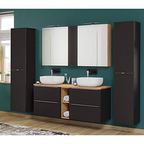 Lomadox Badmöbelset mit 140cm Doppel-Waschtisch Keramik und 2 Hochschränken, 3D Spiegelschränke LED, seidenmatt anthrazit/Wotaneiche