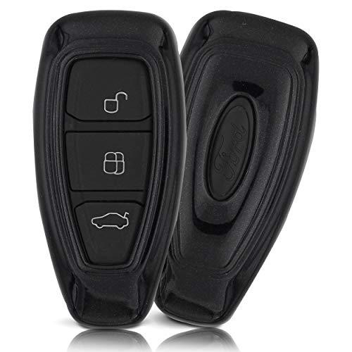ASARAH ABS Schlüsselhülle für Ford mit Edler Lackierung, Schutzhülle für Autoschlüssel Cover für Schlüssel-Typ FD 3BKL - Schwarz