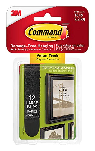Command 17206BLK-12ES 07250000596 Large Picture Strips, Holds 16 pounds, Decorate Damage-Free, Indoor, 12 Pairs, Value Pack, Hangs 3-6 Frames, Black