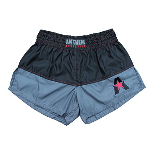 Anthem Athletics New 50/50 Muay Thai Shorts - Kickboxing, Thai Boxing - Black, Grey & Red - Medium