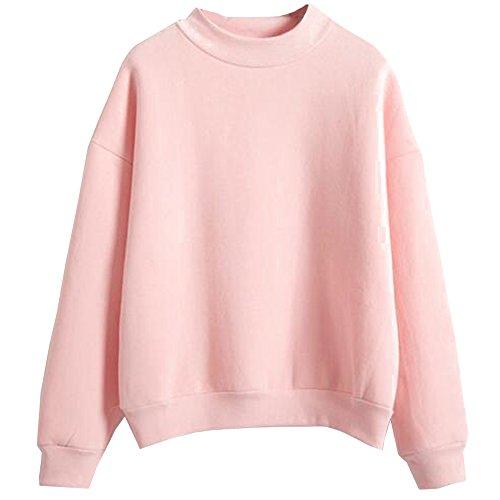 BOZEVON Femme Tops à Manches Longues Rayé Encapuchonné Shirt Sweats à Chemisiers - Rose