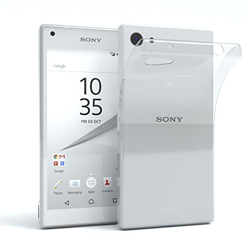 EAZY CASE Hülle kompatibel mit Sony Xperia Z5 Compact Schutzhülle Silikon, Ultra dünn, Slimcover, Handyhülle, Silikonhülle, Backcover, Durchsichtig, Klar Transparent