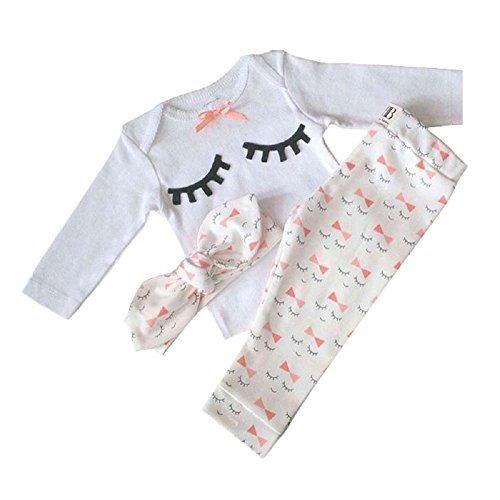 Yilaku Newborn Baby Outfits Shirt + Pants + Headband 3pcs Long Sleeve Toddler Cotton Rompers Infant Clothing Sets (0-3 Months, White)