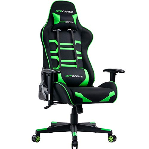 GTPOFFICE Gaming Chair Ergonomic Office Chair Fabric Racing Style E-Sports Chair Big and Tall Back Game Chairs Green Adjustable Tilt Swivel Computer Desk Task Chair with Headrest and Lumbar Support black chair gaming