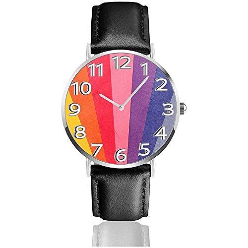 Reloj de Cuero Natural Colorido del Arco Iris Relojes de Pulsera Unisex Reloj de Cuarzo de diseño Fresco