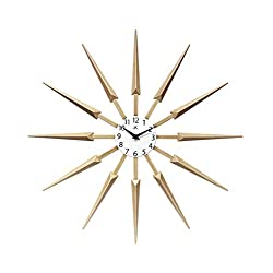 Celeste Light Wood Spokey Starburst Clock 24 inch Starburst Wall Clock Retro Starburst Clock Midcentury with Quartz Movement Easy Keyhole Hang Sunburst Wall Clock Decor Modern (Light Wood)