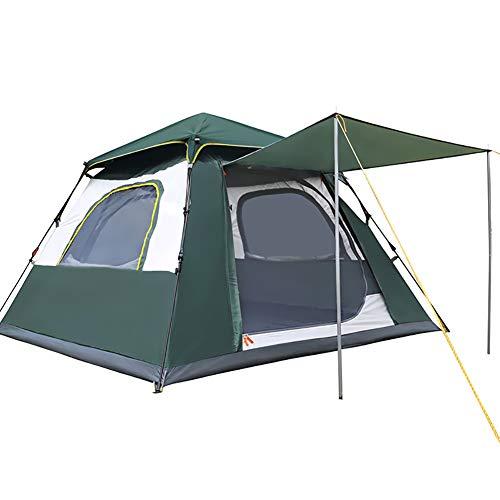 CATLXC 3 Sekunden Automatisches Pop-Up-Familienzelt Vier Ecken, regenfest, wasserdicht, 5 Seiten, atmungsaktiv, Zelte für Camping L grün