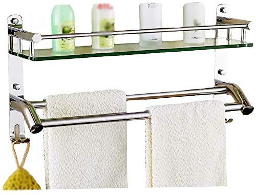 Badkamerrek met 2 planken van gehard glas voor toilet, badkamer, roestvrij staal, wandspiegel van gehard glas (kleur: A maat: 610 mm) 610mm-b