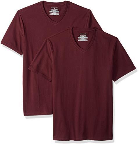Amazon Essentials - Confezione da 2 magliette da uomo con scollo a V, slim fit, Rosso (Burgundy Bur), US S (EU S)