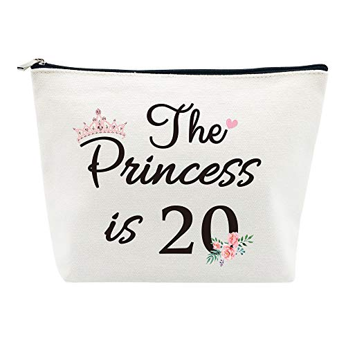 20th Birthday Gifts for Girls Best Friend Daughter Funny 20 Year Old Birthday Gift for Her The Princess is 20 Cute Makeup Bag Celebrate Turning Twenty