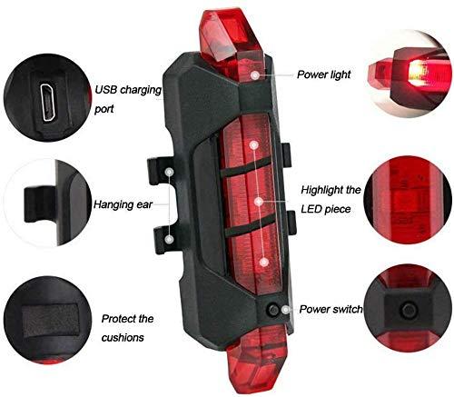 VJK USB wiederaufladbare Fahrradbeleuchtung vorne und hinten, 2 Stück Scooter-Licht, 5 LEDs, 4 Modi, vorne und hinten, Blinklicht, Sicherheitswarnlampe - 5