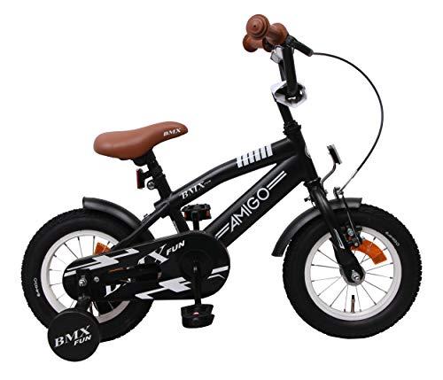 AMIGO BMX Fun - Bicicleta infantil de 16 pulgadas para niños, con ruedas de entrenamiento y freno de posavasos, color negro
