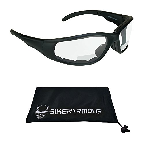 Bikershades Bifocal Motorcycle Safety Glasses Z87.1 Padded +1.50 Clear Lens