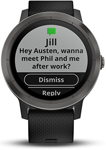 Garmin Vivoactive 3 Smartwatch, Black & Gunmetal, 010-01769-10