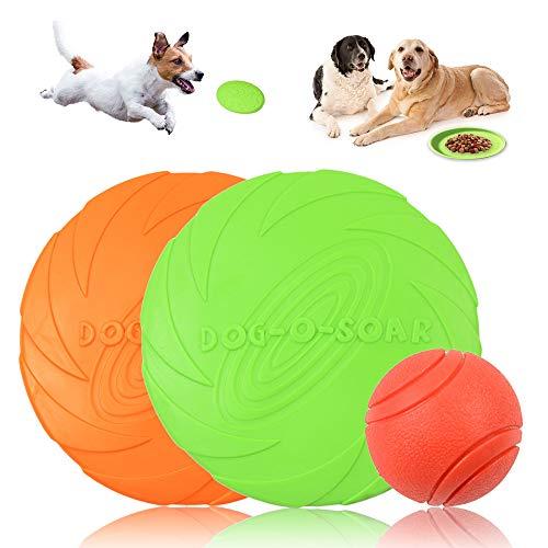 MHwan Disco Volador para Mascotas, Disco para Perros, Disco Volador de Goma Natural Duradero para Perros y Pelota para Perros, Ideal para Entrenar, lanzar, atrapar y Jugar, 3 Piezas