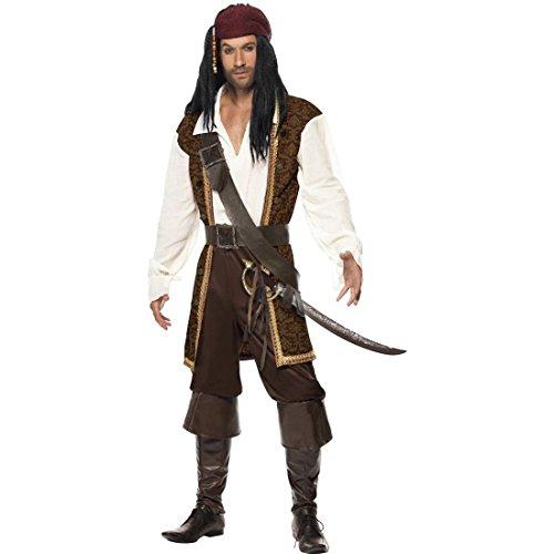 NET TOYS Piraten Kostüm Herren Piratenkostüm L 52/54 Pirat Verkleidung Piratenoutfit Piratenverkleidung Seeräuber Outfit
