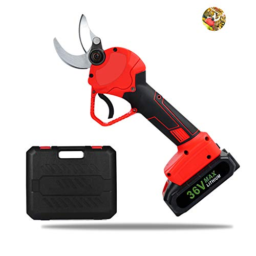 TZUTOGETHER Professional Cordless Electric Pruning Shears, Tree Branch Trimmers with 2 Pcs Backup Rechargeable Lithium Battery, 30mm (1.2 Inch) Cutting Diameter, 6-8 Working Hours(RED)