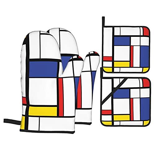 Juego de 4 Manoplas para Horno y Soportes para ollas,patrón Azul,Pintura Moderna Abstracta en Mondrian,Coloridos Guantes de Barbacoa de poliéster,geométricos de la Bauhaus,con Forro acolchador