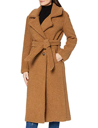 Marchio Amazon - find. Longline Teddy Coat Giacca Donna, Marrone (Brown Brown), 44, Label: M