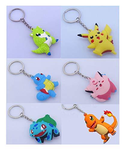 Hyde 3D Pokémon Schlüsselanhänger für Kinder und Erwachsene(6 Stück)