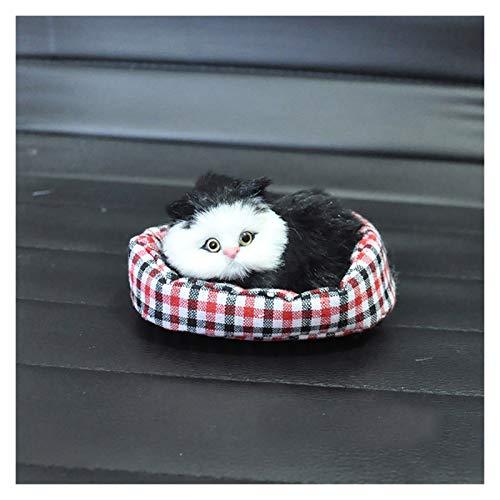 Yubingqin Adorno de coche simulación de felpa mini nido decoración de gato juguete para niños lindo gatito interior del salpicadero accesorios de decoración regalo (color: negro)