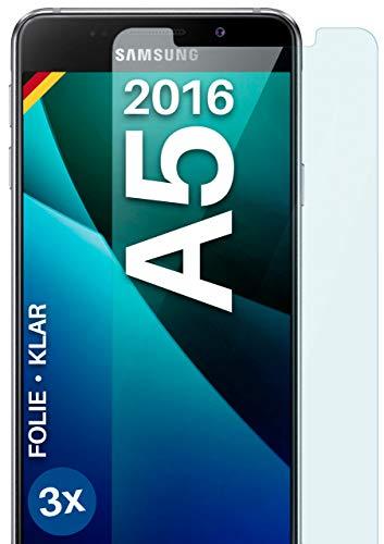 moex Klare Schutzfolie kompatibel mit Samsung Galaxy A5 (2016) - Bildschirmfolie kristallklar, HD Bildschirmschutz, dünne Kratzfeste Folie, 3X Stück
