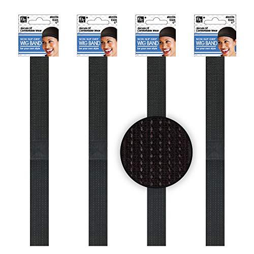 4 Pcs Wig Grip No Slip Rubber Weaved Non-Slip Elastic Stretch Band Straps Lined Headband (1')
